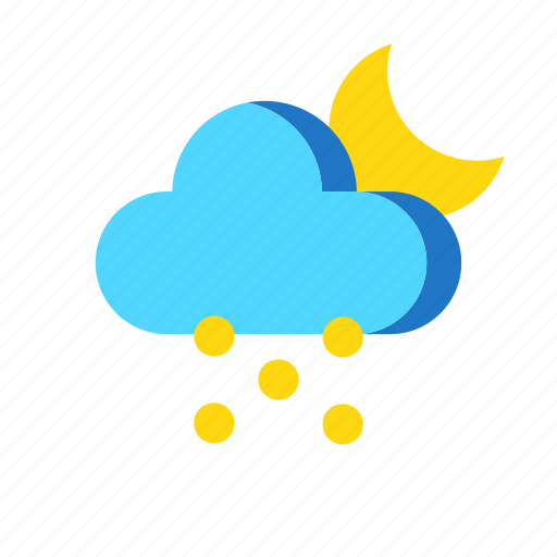 cold, night, snow, weather icon