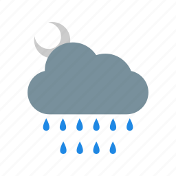 cloud, cloudy, moon, night, weather icon