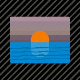 evening, sun down, sunset icon