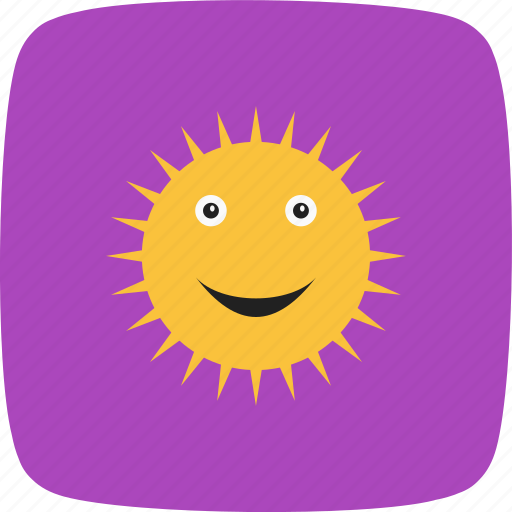 smiling, sun, sunny, weather icon