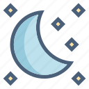 forecast, moon, moonlight, night, sleep, stars, weather icon