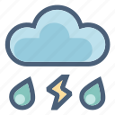 cloud, drops, forecast, precipitation, rain, t-storm, thunder icon