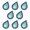 drops, precipitation, rain, shower, storm, water, weather icon