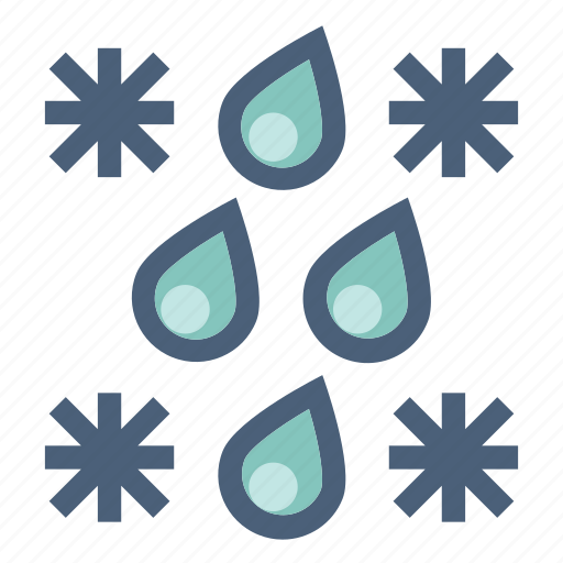 drops, forecast, rain, snow, snowflakes, weather, winter icon
