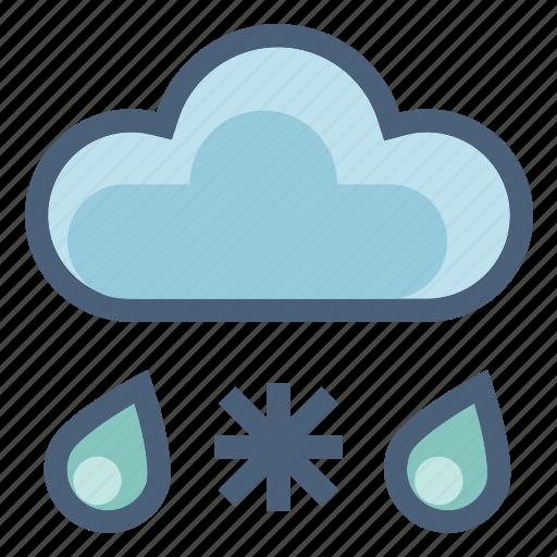 drops, forecast, rain, snow, snowflakes, weather, winter icon