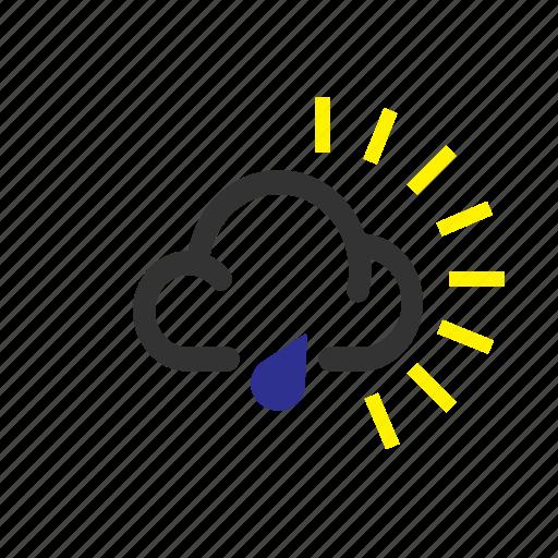 forecast, light, rain, sun, weather icon
