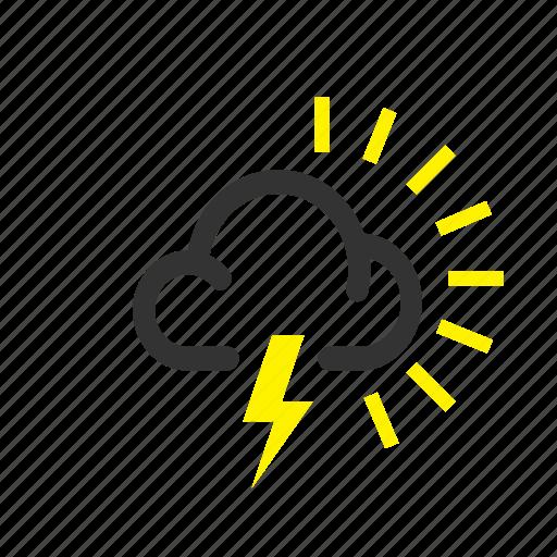 cloud, forecast, lightning, overcast, sunny, thunder, weather icon