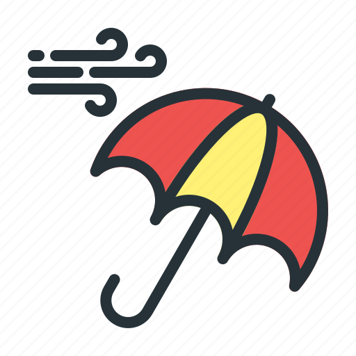 forecast, umbrella, weather, wind icon