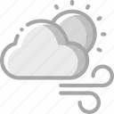 cloud, sun, warm, weather, winds icon