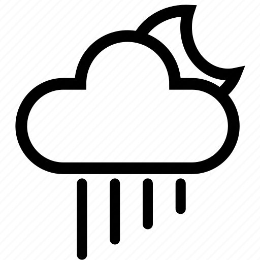 cloud, forecast, moon, night, rain, storm, weather icon