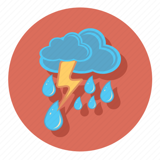 and, cloud, forecast, lightning, rain, weather icon