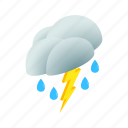cloud, isometric, lightning, rain, storm, thunder, weather icon