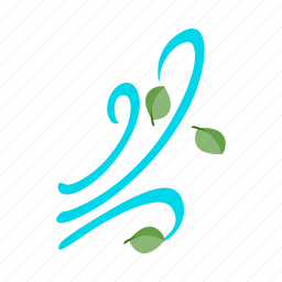 air, isometric, leaf, nature, wave, weather, wind icon