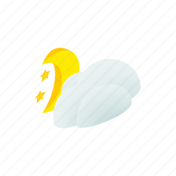 cloud, decoration, isometric, month, moon, sky, star icon