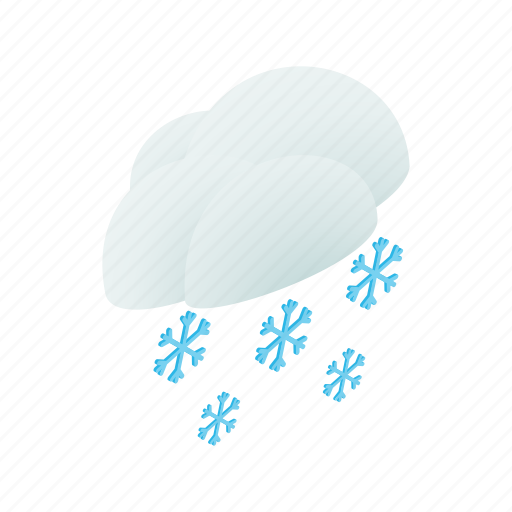 blue, cloud, isometric, sky, snow, snowflake, winter icon