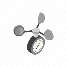 anemometer, climate, equipment, isometric, measurement, speed, weather icon
