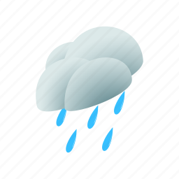 cloud, isometric, rain, sky, water, weather, wind icon