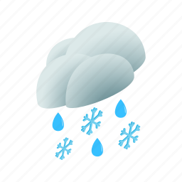 cloud, isometric, rain, season, sky, snow, weather icon