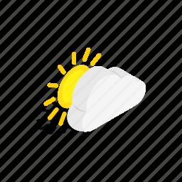 cloud, element, isometric, sun, sunburst, sunlight, sunshine icon
