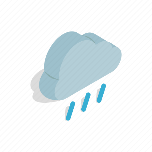 cloud, heavy, isometric, rain, sky, water, weather icon