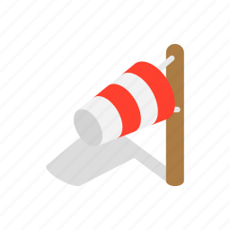 direction, flag, isometric, speed, weather, wind, windsock icon