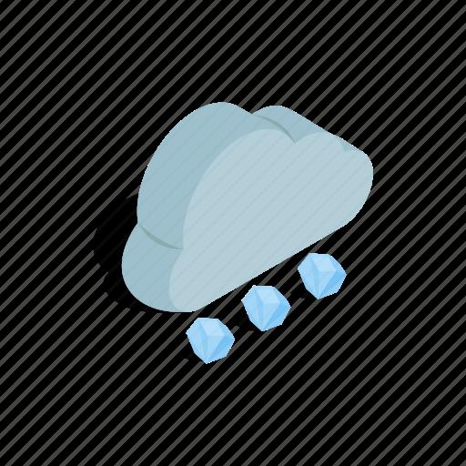 cloud, element, forecast, grey, hail, isometric, nature icon