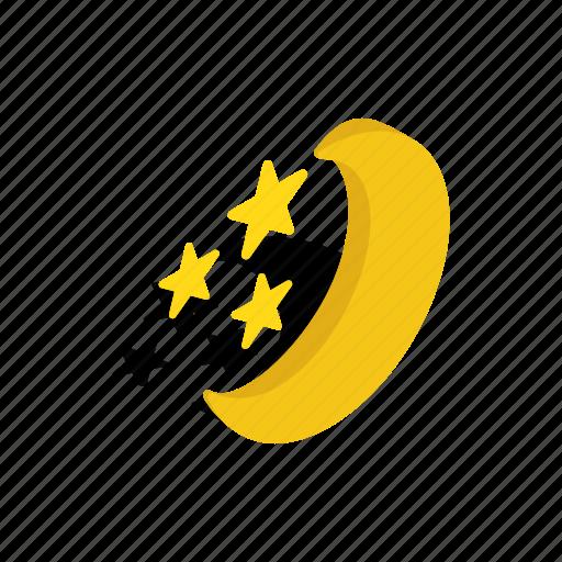 astronomy, isometric, moon, night, sky, space, star icon