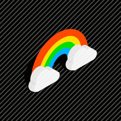 blue, cloud, concept, isometric, nature, rainbow, sky icon