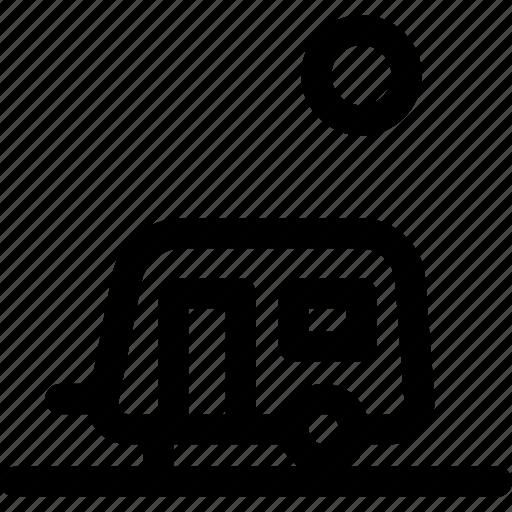 camp, home, landscape, motor, sun, trailer icon