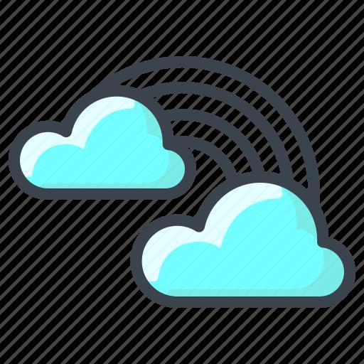 cloud, clouds, forecast, rain, rainbow, sun, weather icon