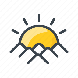 cloudy, forecast, mountain, sun, sunny, sunset, weather icon