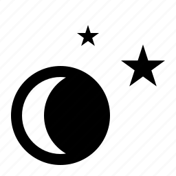 crescent, lunar, moon, night, stars, waning, weather icon