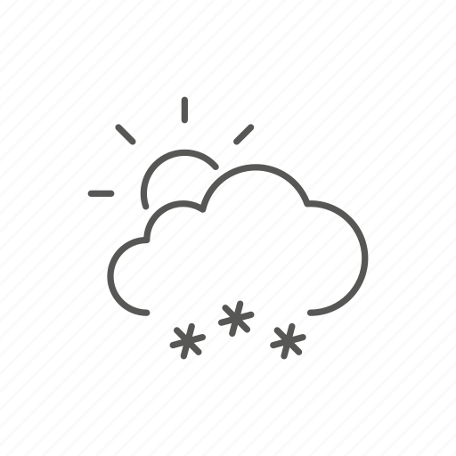 partial, snow, sun, weather icon