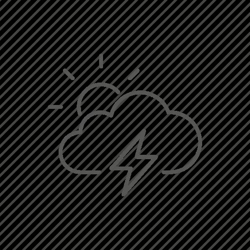 partial, storm, sun, weather icon