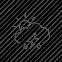 partial, rain, storm, sun, weather icon