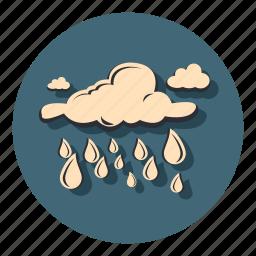 cloud, drops, night, rain, weather icon