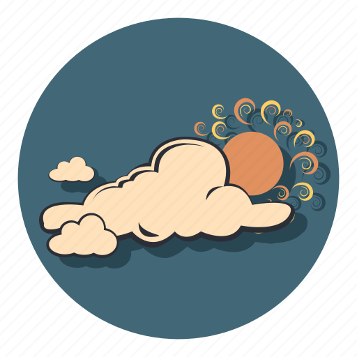 clouds, cloudy, sun, weather icon