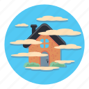 cloud, fog, house, weather icon