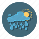 and, cloudy, day, forecast, rain, sun, weather icon