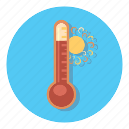 and, forecast, hot, sun, thermometer, weather icon