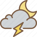 cloud, lightning, moon, storm, weather icon