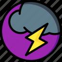 cloud, lightning, weather icon