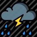 lightning, rain, storm, weather