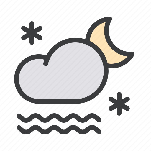 cloud, fog, forecast, frost, moon, night, snow icon