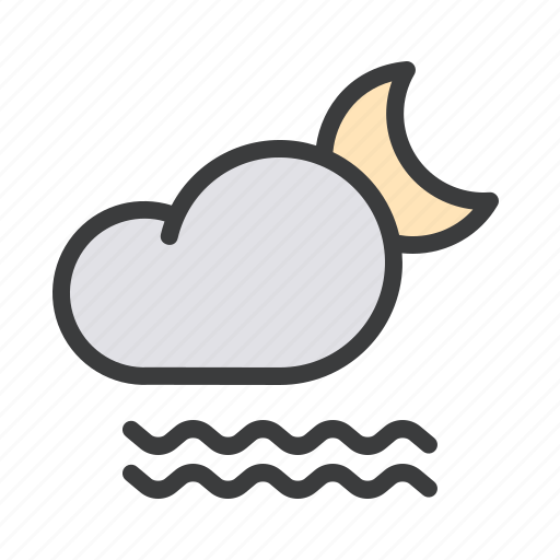 cloud, fog, foggy, forecast, mist, moon, night icon