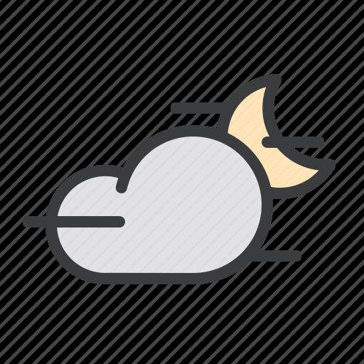 cloud, cloudy, fog, foggy, mist, moon, night icon