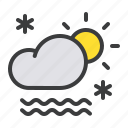 cloud, daytime, fog, frost, mist, snow, sun icon