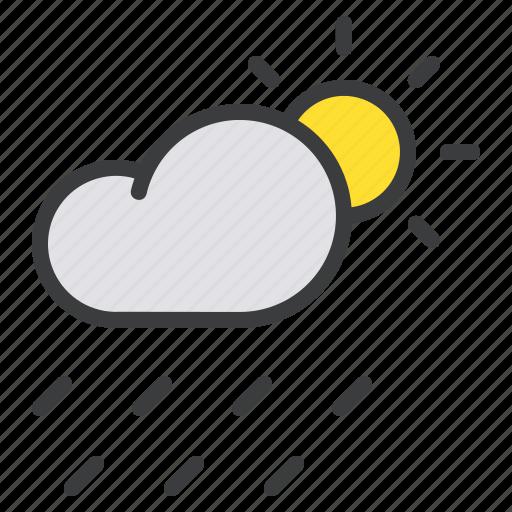 cloud, day, daytime, forecast, rain, rainfall, sun icon