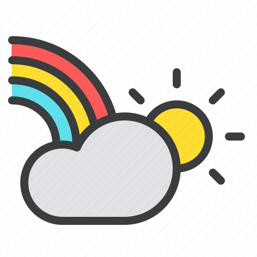 cloud, colorful, day, rainbow, sun, weather icon