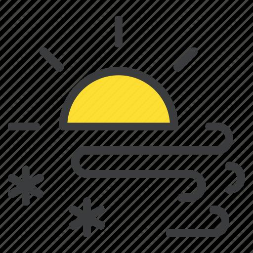 day, daytime, forecast, snow, snowfall, storm, sun icon